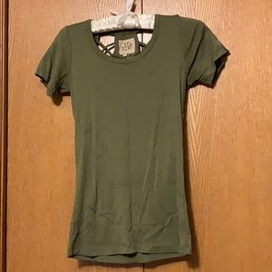 Women's Olive Open Back tee (NWOT)
